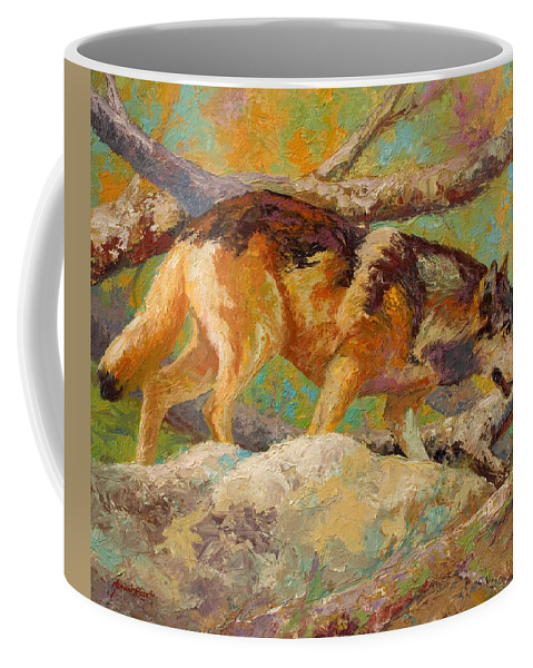 Wolf Coffee Mug featuring the painting Prowler - Grey Wolf by Marion Rose