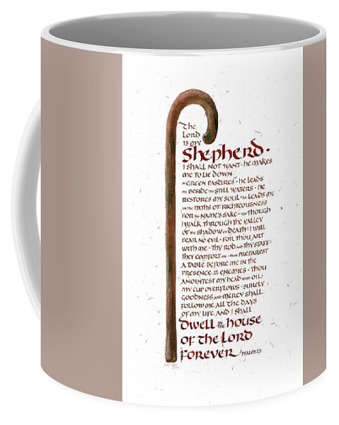 Bible Books Coffee Mug featuring the painting Psalm 23 by Judy Dodds