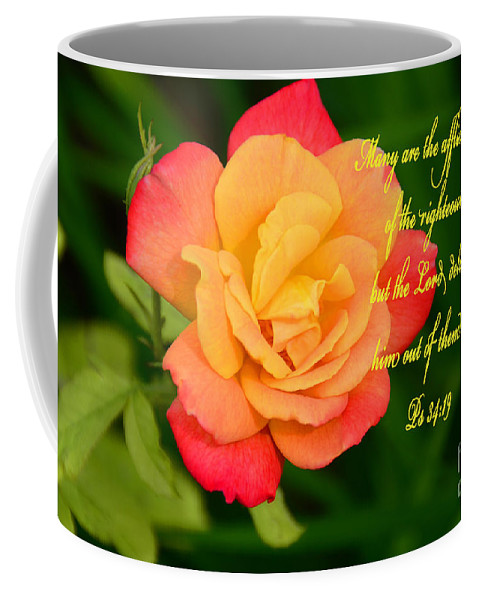 Scripture: Catholic Coffee Mug featuring the photograph Psalm 34 V 19 by Debby Pueschel