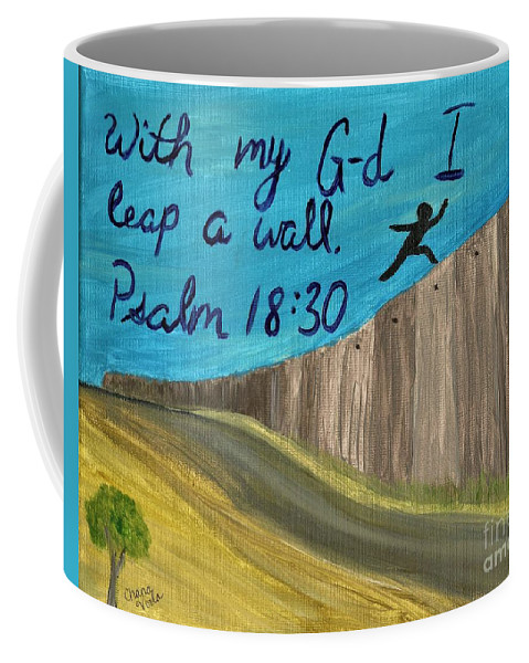 Psalm Coffee Mug featuring the painting Art Therapy For Your Wall Psalm Art by Chana Voola