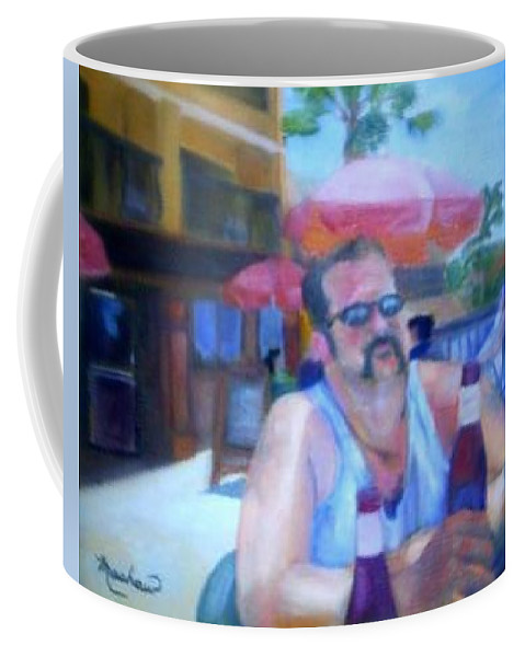 Daytona Coffee Mug featuring the painting Pub by Sheila Mashaw