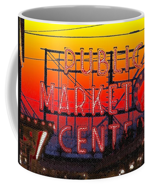 Seattle Coffee Mug featuring the photograph Public Market Mosaic 1 by Tim Allen