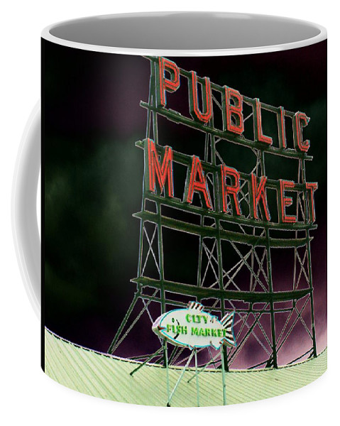 Seattle Coffee Mug featuring the photograph Public Market by Tim Allen