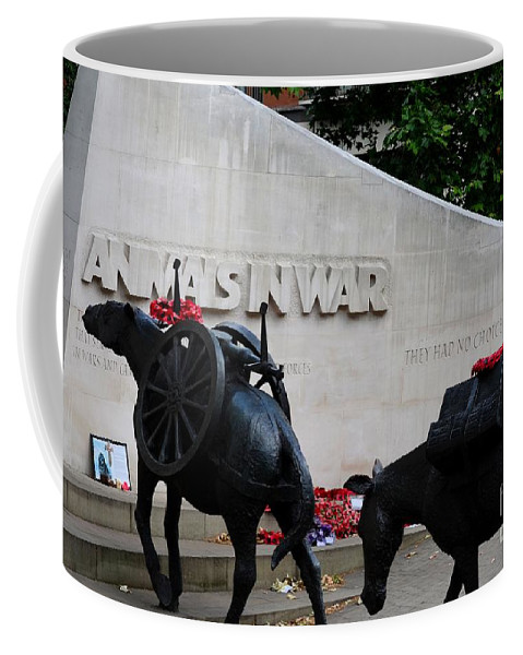 War Coffee Mug featuring the photograph Public Memorial Honoring Military Animals In War London England by Imran Ahmed