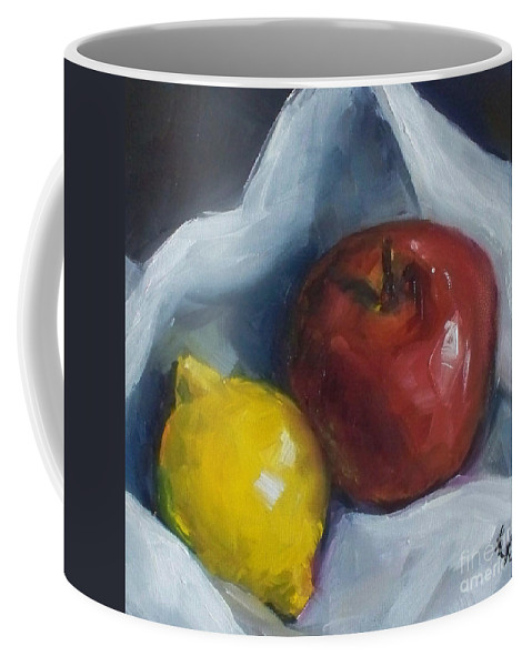 Apple Coffee Mug featuring the painting Pucker Up by Kristine Kainer
