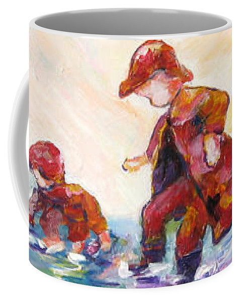Mothers And Children Bonding Coffee Mug featuring the mixed media Puddle Jumpers by Naomi Gerrard