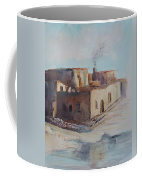 Pueblo Coffee Mug featuring the painting Pueblo After The Rain by Charme Curtin
