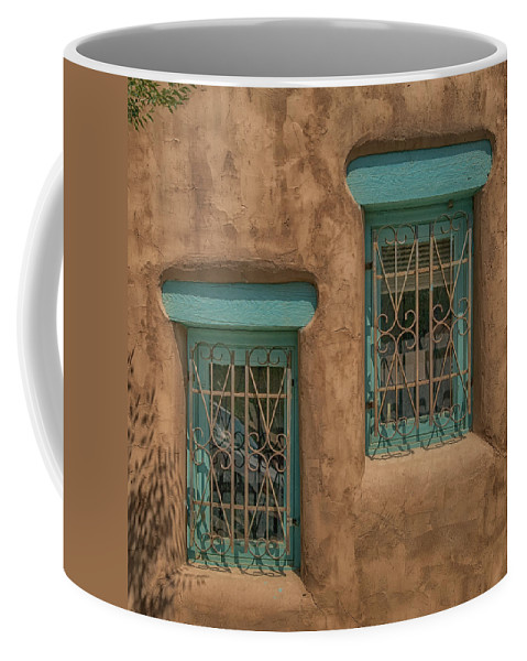 Pueblo Coffee Mug featuring the photograph Pueblo Windows Nm Square Img_8336 by Greg Kluempers