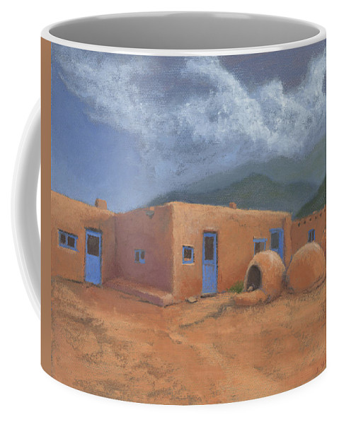 Taos Coffee Mug featuring the painting Puertas Azul by Jerry McElroy