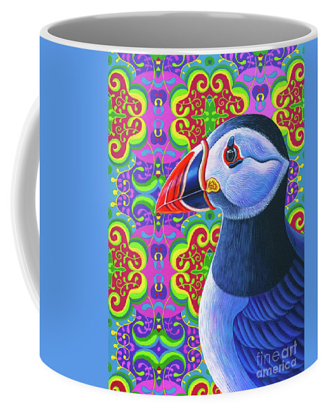 Puffin Coffee Mug featuring the painting Puffin, 2018 by Jane Tattersfield