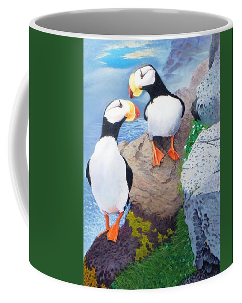 Puffins Coffee Mug featuring the painting Puffins by Jim Bob Swafford