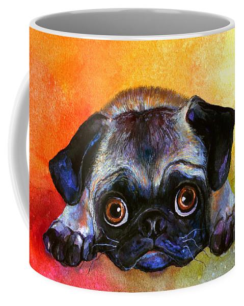 Pug Painting Coffee Mug featuring the painting Pug Dog Portrait Painting by Svetlana Novikova