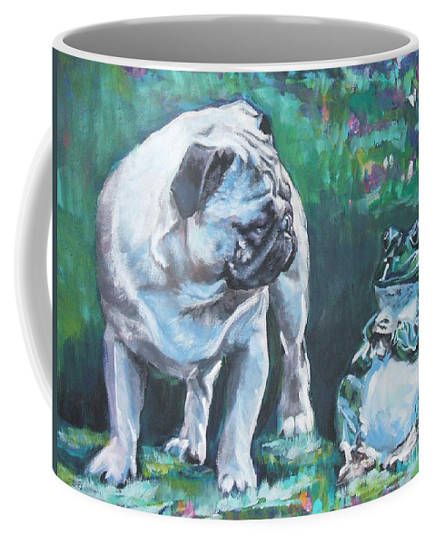 Dog Coffee Mug featuring the painting Pug Fawn With Frog by Lee Ann Shepard