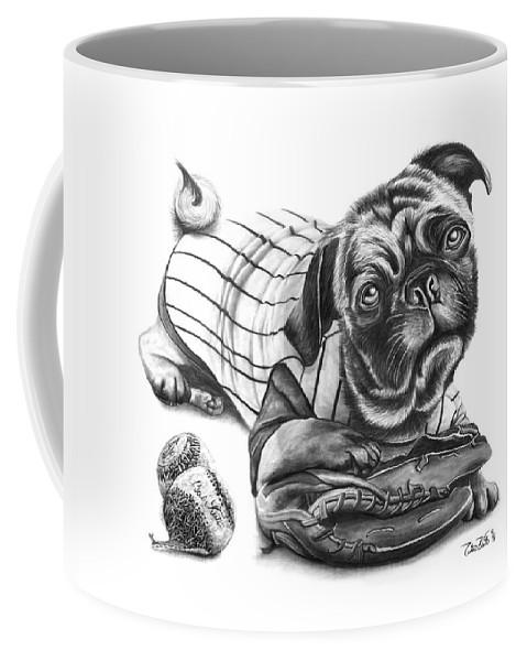 Pug Ruth Coffee Mug featuring the drawing Pug Ruth by Peter Piatt