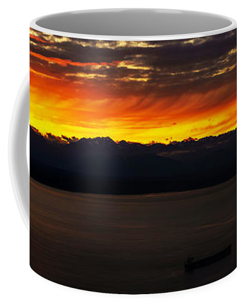 Puget Sound Coffee Mug featuring the photograph Puget Sound Olympic Mountains Sunset by Mike Reid