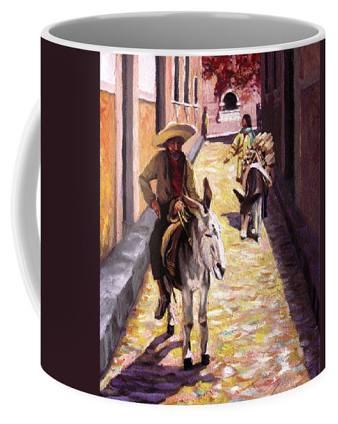 Impressionism Coffee Mug featuring the painting Pulling up the Rear in Mexico by Nancy Griswold
