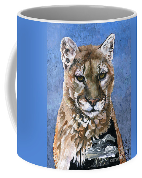 Puma Coffee Mug featuring the painting Puma - The Hunter by J W Baker