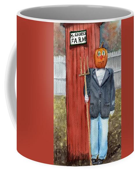 Farm Coffee Mug featuring the painting Pumpkin Farmer by Katherine Berlin