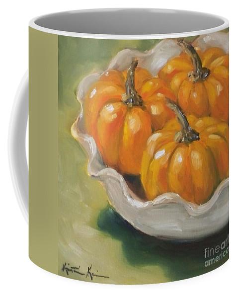 Pumpkins Painting Coffee Mug featuring the painting Pumpkin Pie by Kristine Kainer