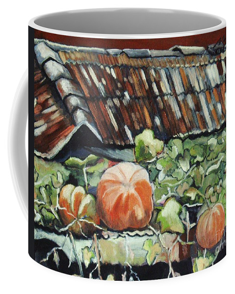 Pumpkin Paintings Coffee Mug featuring the painting Pumpkins On Roof by Seon-Jeong Kim