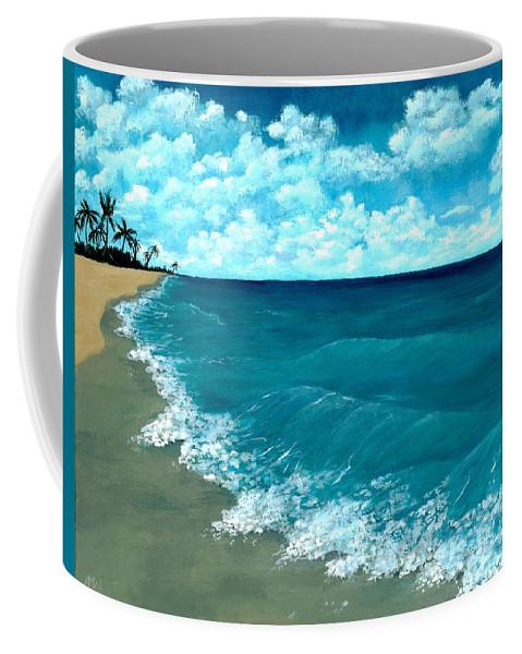 Blue Coffee Mug featuring the painting Punta Cana Beach by Anastasiya Malakhova