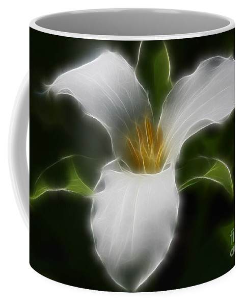 Flower Coffee Mug featuring the photograph Pure White Trillium by Deborah Benoit