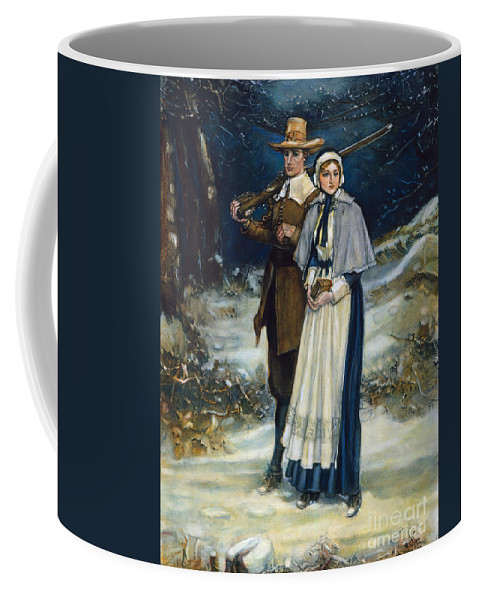 17th Century Coffee Mug featuring the photograph Puritans Going To Church by Granger