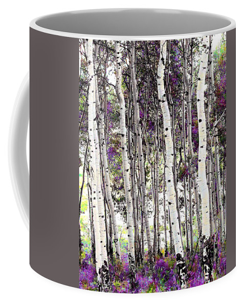 Aspen Trees Coffee Mug featuring the photograph Purple Aspens by LeAnne Perry