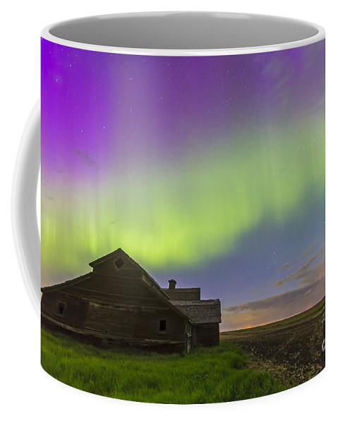 Alberta Coffee Mug featuring the photograph Purple Aurora Over An Old Barn by Alan Dyer