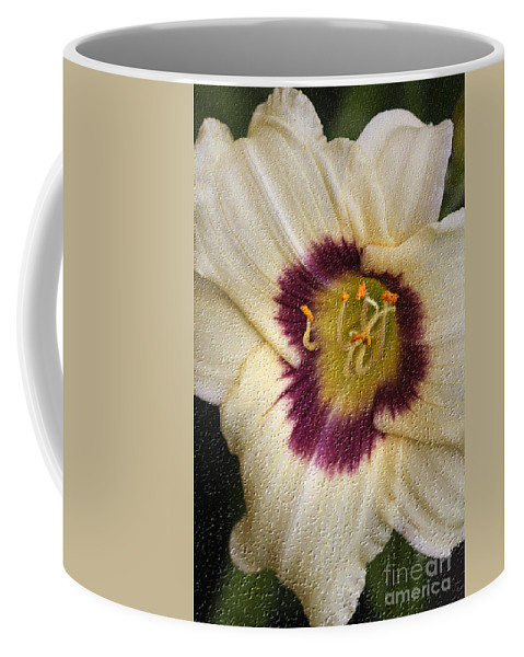 Lilly Coffee Mug featuring the digital art Purple Center by Deborah Benoit