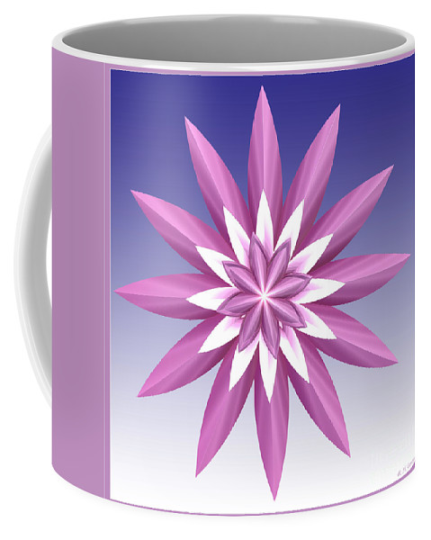 Fractal Coffee Mug featuring the digital art Purple Flower by Deborah Benoit