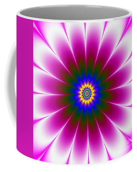 Abstract Coffee Mug featuring the digital art Purple Flower by Galina Lavrova