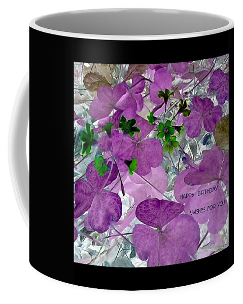Purple Coffee Mug featuring the photograph Purple Flower Wishes by Barbara Searcy