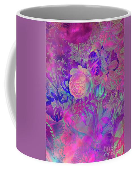Flora Coffee Mug featuring the digital art Purple Flowers by Justyna JBJart