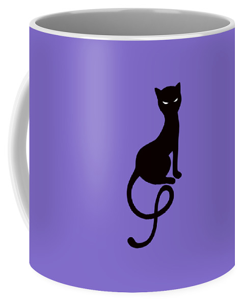 69da2211f Cats Coffee Mug featuring the digital art Purple Gracious Evil Black Cat by Boriana  Giormova