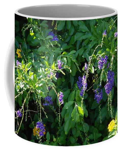 Floral Coffee Mug featuring the photograph Purple Hanging Flowers by Rob Hans