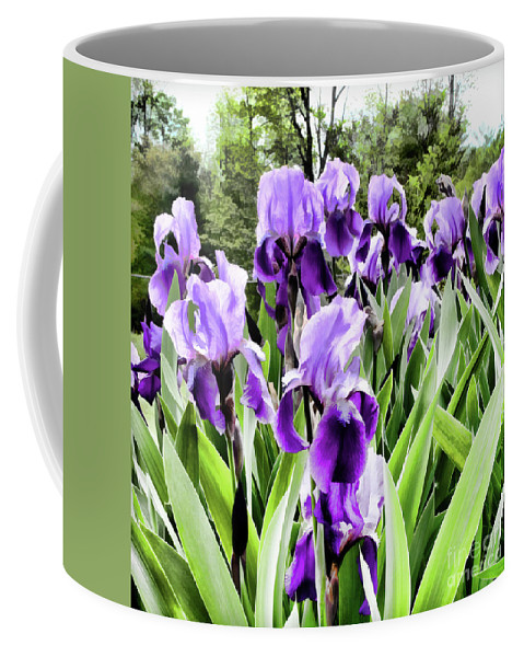 Flora Coffee Mug featuring the photograph Purple Iris by Laura Mace Rand
