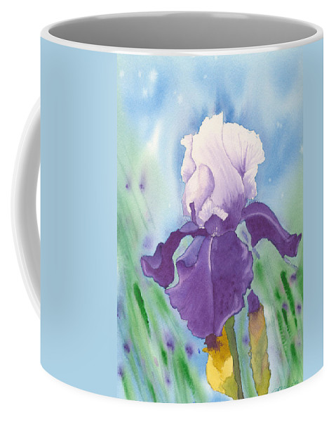 Iris Coffee Mug featuring the painting Purple by Louise Magno