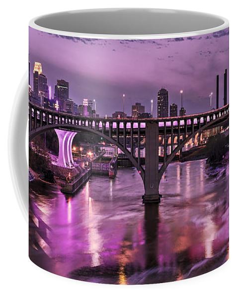 Minneapolis Skyline Coffee Mug featuring the photograph Purple Minneapolis For Prince by Joe Mamer