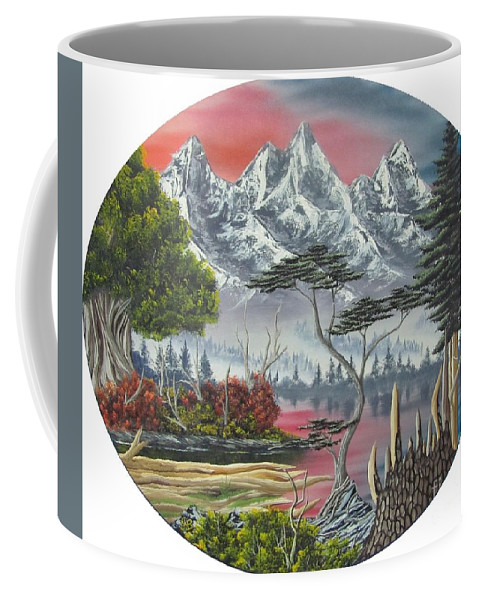 Himalayan Purple Mountains Canvas Prints Lake Landscape Sunset Oil Painting Canvas Prints Himalayan Landscape Paintings Purple Mountain Paintings Original Landscape Oil Paintings Natural Landscape Painting Prints Mountain Flora Paintings Alpine Landscape Art Temperate Forest Paintings Alpine Forest Paintings Boreal Forest Paintings Purple Lake Reflections Paintings Mountain Lake Paintings Surreal Landscapes Paintings Abstract Landscapes Purple Forest Paintings Rare Paintings Rare Art Fine Art Coffee Mug featuring the painting Purple Mountain Lake by Joshua Bales