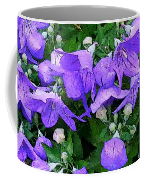 Numerous Small Blue~purple Flowers With Buds And Greenery Coffee Mug featuring the photograph Balloon Flowers by Harriet Harding