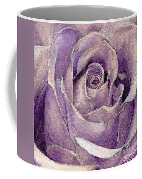Rose Coffee Mug featuring the painting Purple Rose by Portraits By NC