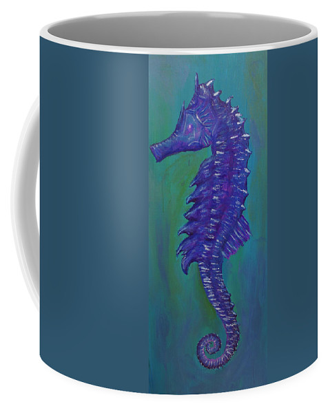 Seahorse Coffee Mug featuring the painting Purple Seahorse by Corby Bender