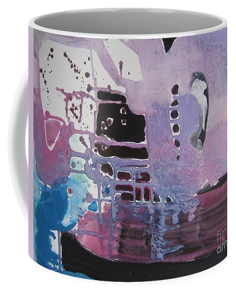 Abstract Paintings Coffee Mug featuring the painting Purple Seascape by Seon-Jeong Kim