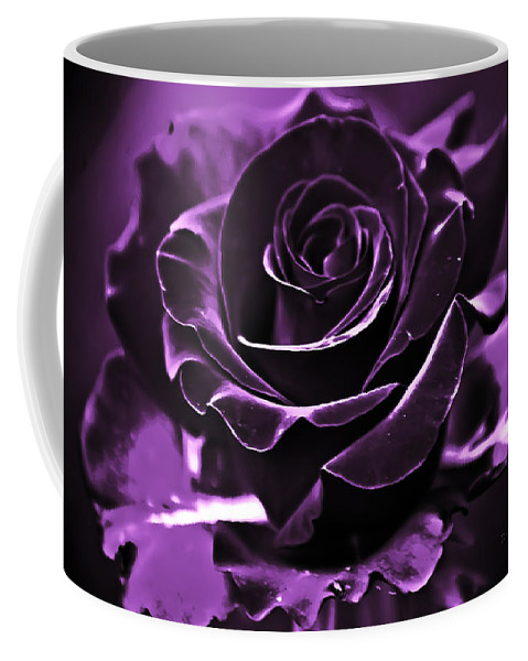 Rose Coffee Mug featuring the photograph Purple Seduction by DigiArt Diaries by Vicky B Fuller