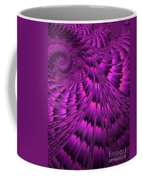 Abstract Shell Coffee Mug featuring the digital art Purple Shell by John Edwards