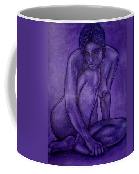 Nude Women Coffee Mug featuring the painting Purple by Thomas Valentine