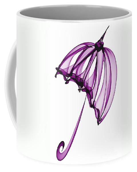 Purple Coffee Mug featuring the digital art Purple Umbrella by Ann Garrett
