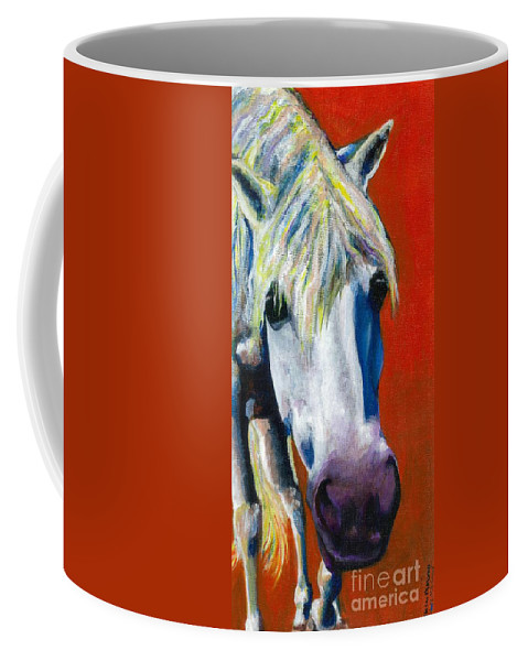 White Horse With Purple Nose Coffee Mug featuring the painting Purple Velvet by Frances Marino