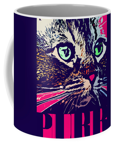 Cat Coffee Mug featuring the digital art Purr by David G Paul